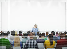 Business People on a Conference with the Speaker Stock Image
