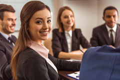 Business people conference. Young business people at a conference in the office Stock Photography