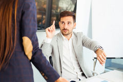 Business people conflict problem working in team together Stock Image