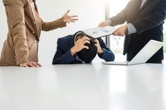 Business people conflict problem working in team turns into figh Stock Photos