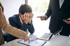 Business people conflict problem working in team turns into figh Royalty Free Stock Image