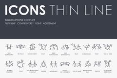 BUSINESS PEOPLE CONFLICT Thin Line Icons. Set of BUSINESS PEOPLE CONFLICT Thin Line Vector Icons and Pictograms Royalty Free Stock Photos