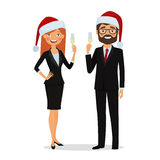 Business people congratulate on the Christmas holidays. Congratulations on Christmas holidays. Business people dressed in Christmas hats and in business suits Stock Photos