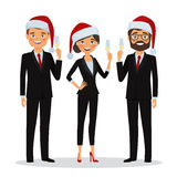 Business people congratulate on Christmas holidays. Congratulations on Christmas holidays. Business people dressed in Christmas hats and in business suits Royalty Free Stock Photography