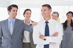 Business people congratulating their colleague Royalty Free Stock Photos