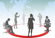 Business people connect phone computer network Royalty Free Stock Photography