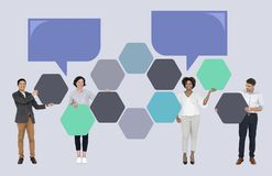Business people with connected hexagon boards stock photography