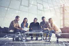 Business people connected on internet network with a laptop. concept of startup company. double exposure stock photo
