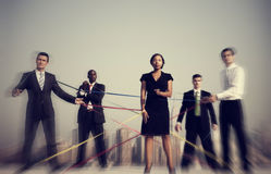 Business People Connected By Strings Concept Stock Photography