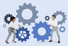 Business people connecting with gears royalty free stock image