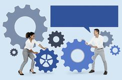 Business people connecting with gears stock image