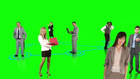Business people connecting on green background stock video
