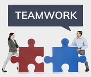 Business people connecting jigsaw puzzle pieces stock images