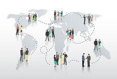Business people with connecting lines and world map Stock Image