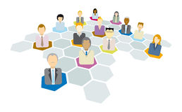Business people connecting / Networking icons Stock Photos