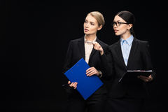 Business people connecting during work and using clipboards, business teamwork Stock Photography