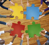 Business People Connection Corporate Jigsaw Puzzle Concept Stock Photos
