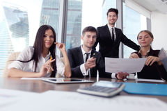 Business people with contract Royalty Free Stock Photos