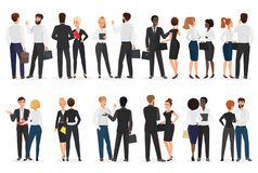 Business people conversation. Man and woman standing together and talking, discussing, negotiating. Front and back view. Vector illustration stock illustration