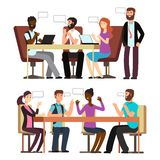 Business people conversation in business situations in office. International businesspeople have conversation in different business situations in office. Vector royalty free illustration