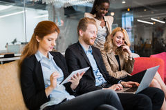 Business people conversation. Technology at hand. Business people conversation with technology at hand. Exchange of new ideas and brainstorming between royalty free stock photo