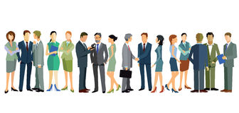 Business people conversing. Illustration of diverse business people communicating, isolated on white background stock illustration