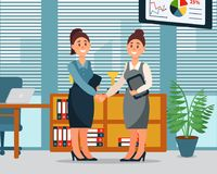 Business people cooperation agreement, handshake of two businesswomen, productive partnershi , modern office interior. Vector Illustration, cartoon style Royalty Free Stock Photography