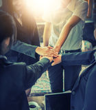 Business people coordinate hands. Concept Teamwork. stock photography