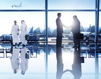 Business People Corporate Handshake Airport Concept Stock Photography