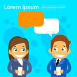 Business People Couple Cartoon Character Using. Business People Couple Man and Woman Cartoon Character Using Cell Smart Phone Message Chat Bubble Flat Vector Royalty Free Stock Photography
