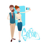 Business People Couple Man Woman Taking Selfie Photo On Smart Phone Royalty Free Stock Images