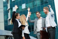 Business people and coworkers outside Royalty Free Stock Image