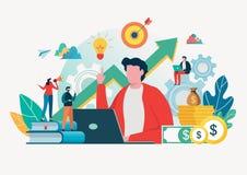 Business people create idea to success. Teamwork concept. Team building. Team metaphor. Vector illustration. Flat cartoon. Business people create idea to success royalty free illustration