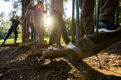 Business People Crossing Swinging Logs In Forest stock photography