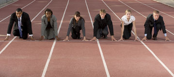 Business People Crouching at Starting Line stock image