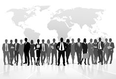 Business people crowd group silhouette concept Royalty Free Stock Image