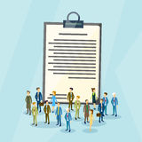 Business People Crowd Over Paper Document Flat Royalty Free Stock Images