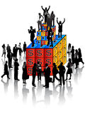 Business people and cubes Royalty Free Stock Photography