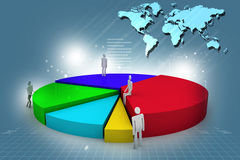 Business people and 3d pie chart. Digital illustration of business people and 3d pie chart Stock Images