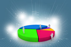 Business people and 3d pie chart Stock Image