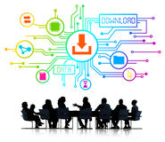 Business People with Data Download Concepts Stock Photo