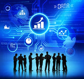 Business People with Data and Growth Concept. Silhouettes of Business People Working with Data and Growth Concept Royalty Free Stock Photography