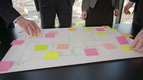 Business people developing plan on office desk. Business people team developing plan on office desk using stick notes