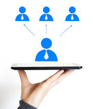Business people dialogue internet connection icon tablet Stock Photos