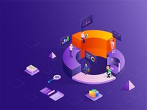 Business people with different growth stages, analytics analysis. The data with the help of infochart, isometric design for startup or data analysis concept royalty free illustration