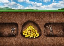 Business people dig a tunnel to treasure stock photo