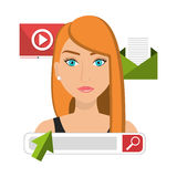 Business people and digital marketing. Graphic design,  illustration Stock Photos