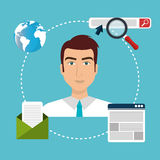 Business people and digital marketing. Graphic design,  illustration Stock Photography