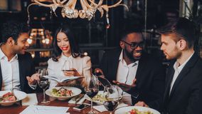 Business People Dinner Meeting Restaurant Concept royalty free stock photo