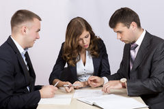 Business people discuss deal Stock Photography